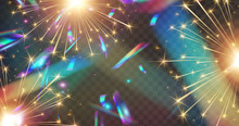 Fireworks And Holographic Confetti Lights Effect Isolated On Transparent Background.  New Year Rockets Or Christmas Sparkle Overlay Texture. Vector Festive Foil Hologram Tinsel Banner.
