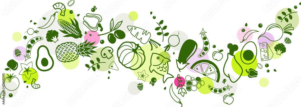 Fototapeta food banner green - healthy & colourful - vector illustration