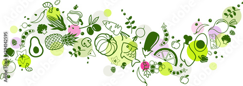 food banner green - healthy & colourful - vector illustration