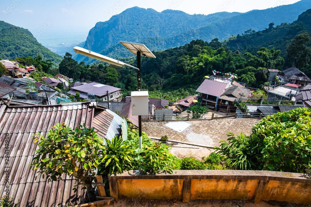 Fototapeta Pha Hi village on the mountain