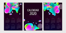 Separate Pages Calendar 2020 Background Abstraction Liquid Style. Printable Creative Template With Abstract Elements And Gradients