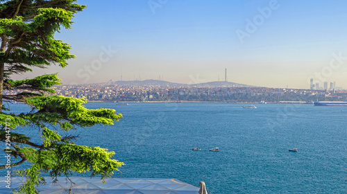 Fotografiet Aerial top panoramic view of Harem district over waterway of Bosporus or Bosphor