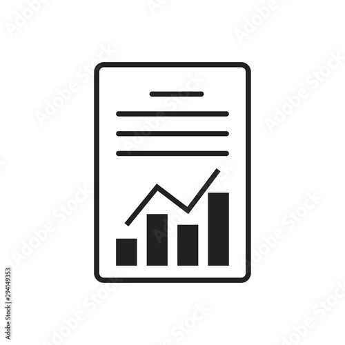 Papel de parede Report or graphic document isolated vector icon with chart