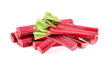 Rhubarb Stalks On A White Back...