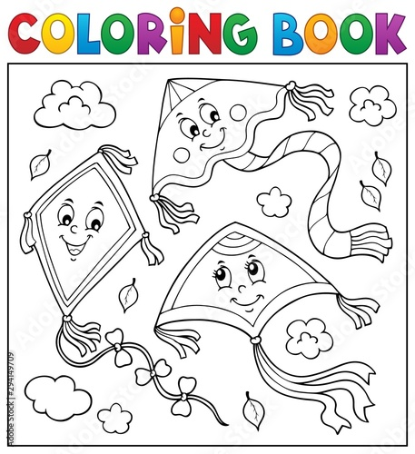 Foto op Canvas Voor kinderen Coloring book happy autumn kites topic 2