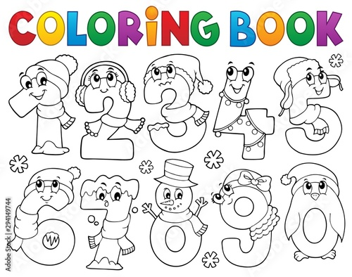 Foto op Canvas Voor kinderen Coloring book winter numbers set 1