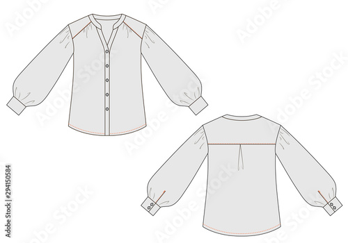Fotografie, Obraz Fashion technical sketch of blouse with cuffs in vector graphic