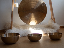 Gond In A Wooden Stand With Tibatan Singing Bowls For Sound Healing Therapy