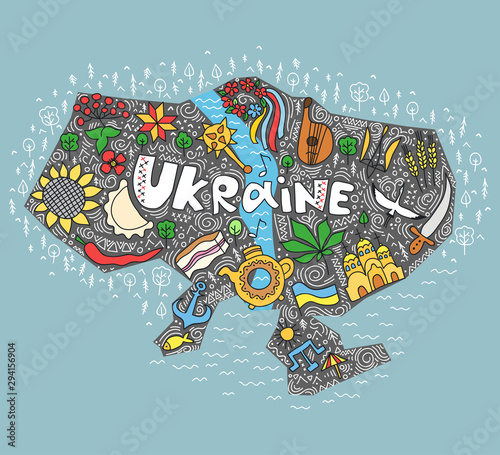 Photo Ukraine hand lettering and doodles elements background