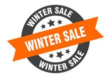 Winter Sale Sign. Winter Sale Orange-black Round Ribbon Sticker