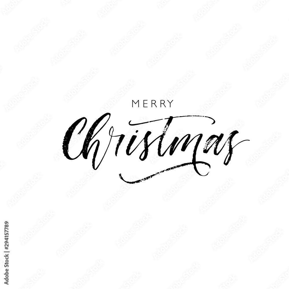 Fototapeta Merry Christmas card. Hand drawn brush style modern calligraphy. Vector illustration of handwritten lettering.