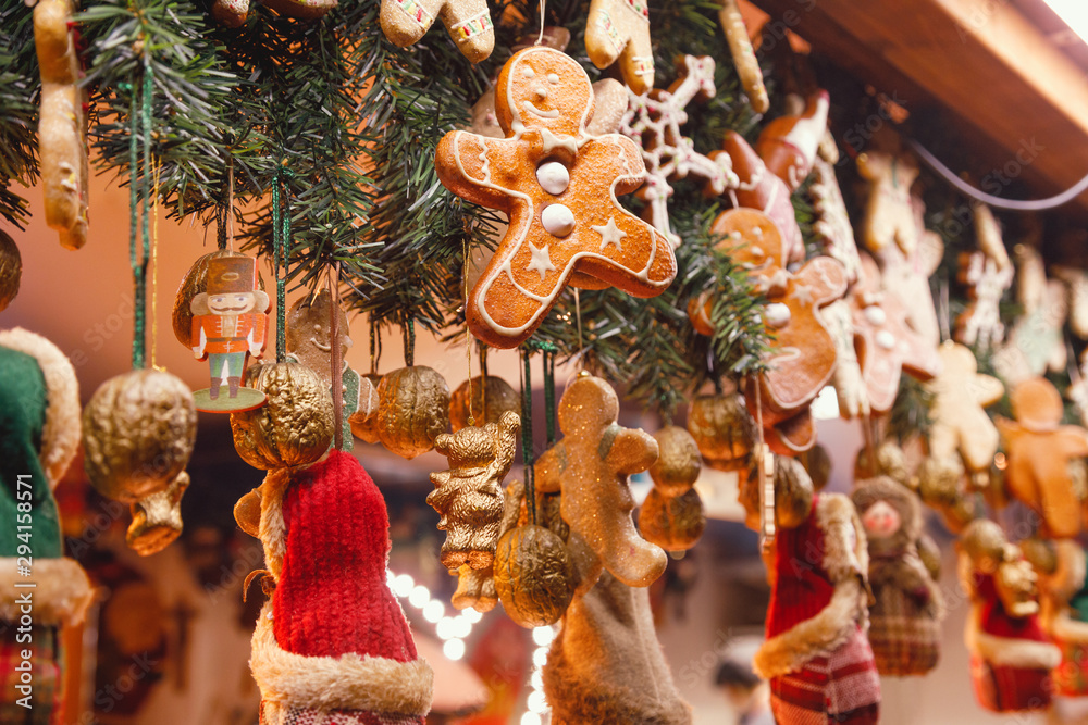 Fototapeta Christmas decorations at Christmas market stall in Berlin Germany