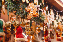 Christmas Decorations At Christmas Market Stall In Berlin Germany