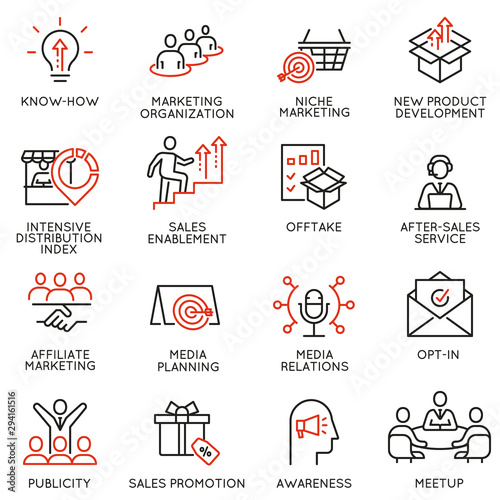Vector set of linear icons related to business management process, advertising promotion and marketing Wallpaper Mural