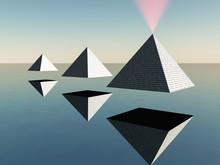Hovering Pyramids. Minimalist ...