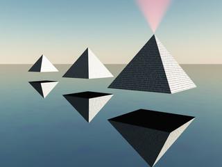 Hovering pyramids. Minimalist surreal scene