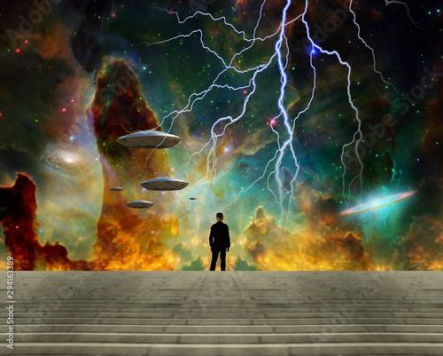 Man observes UFO fleet in vivid sky. Colorful nebula Wallpaper Mural