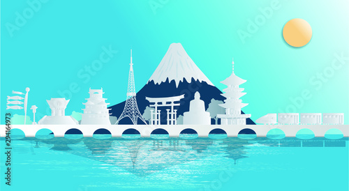 Poster Turquoise Japan and the world-famous construction site, you can see Mount Fuji in a panorama style. Paper cut style, advertising posters for tourism and travel businesses - vector