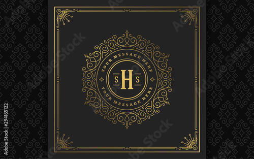 Fotomural Vintage monogram logo elegant flourishes line art graceful ornaments victorian s