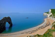 Durdle Door And White Cliffs View On Dorset's Jurasic Coast