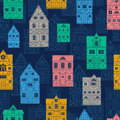 Panel Szklany Architektura German houses cartoon seamless pattern urban landscape background. Front view of European city street colorful building facades silhouette. Hand drawn vector illustration sketch style.