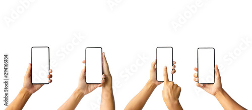 Obraz A collection of images of a woman holding a cell phone isolated on a white background with a path drawing. - fototapety do salonu