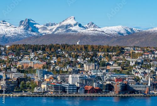 Door stickers Northern Europe Tromso . Norway. 25-09-2019 View over Tromsø from mount Storsteinen