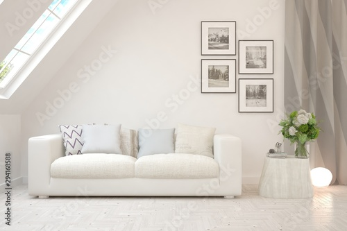 Stylish room in white color with sofa Fototapet