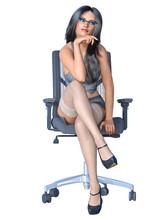 Long-haired Brunette Secretary...