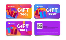 Set Of 4 Colorful Gift Cards W...