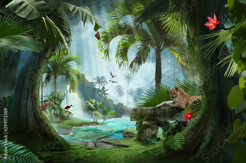 Fotomural beautiful jungle beach lagoon view with a jaguar, palm trees and tropical leaves