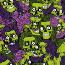 Bearded Green Zombie Skull Wit...