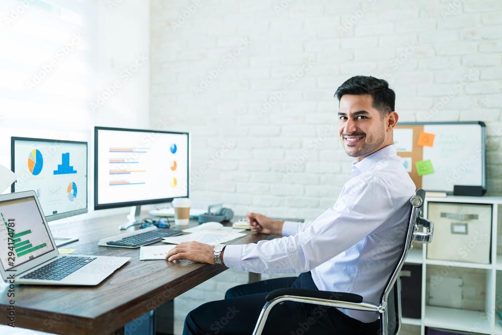 Fototapeta Confident Freelance Salesman Working At Home