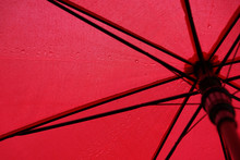 Red Umbrella In Raindrops, Ph...