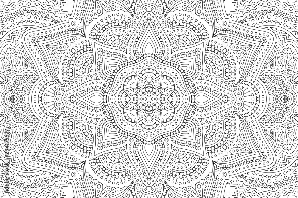 Fototapety, obrazy: Art for adult coloring book with abstract pattern