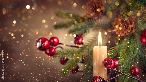 Fotografie, Obraz Vintage styled Christmas and New Year Holiday border art design with candle and fir tree with cones
