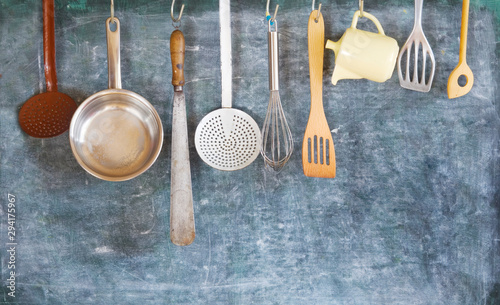 Obraz Kitchen utensils for commercial kitchen, restaurant,cooking, culinary concept. - fototapety do salonu
