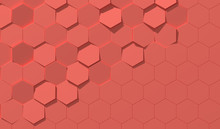 Living Coral Color Hexagon Background With Copy Space (3D Illustration)