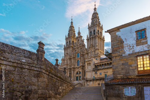 Leinwand Poster Old gothic Santiago de Compostela Cathedral, Galicia, Spain