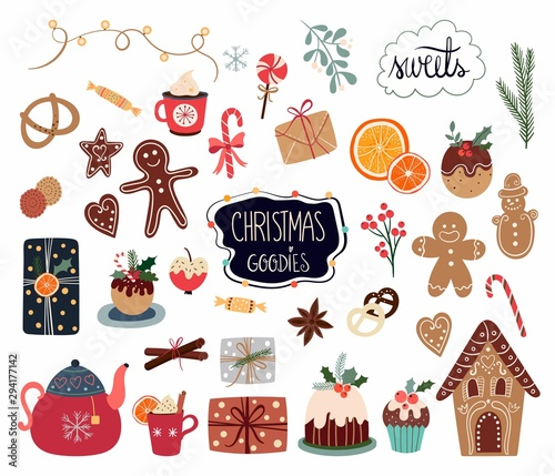 Fotografía  Christmas elements collection with different sweets and seasonal items isolated