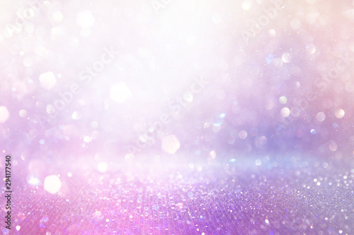 Fotomural  abstract glitter pink, purple and gold lights background