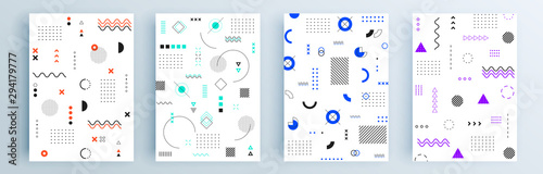 Fototapeta Modern abstract covers set, minimal covers design. Colorful geometric background, vector illustration. obraz