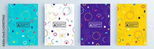 Modern abstract covers set, minimal covers design. Colorful geometric background, vector illustration. - fototapety na wymiar