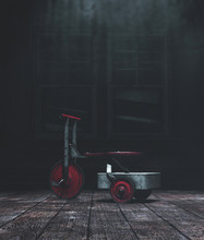 Tricycle Toys In Haunted House,3d Illustration