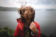 Traveler Girl In Red Raincoat ...
