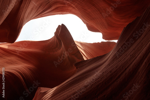 Foto auf Leinwand Violett rot Antelope Canyon on Navajo land east of Page, Arizona. It is a slot canyon in the American Southwest. Lower Antelope has narrow slots and carved shoots.
