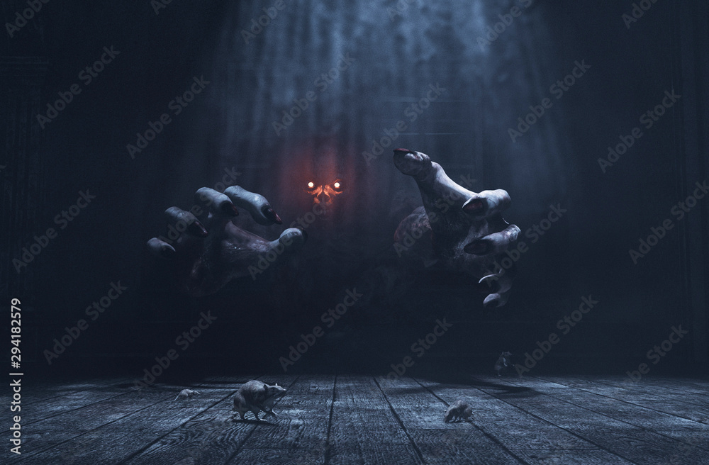 Fototapeta The dwelling,The place has it own devil,Monster in haunted house,3d illustration