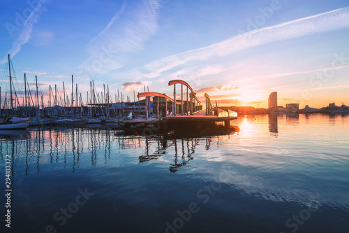 Barcelona Port Vell with Sailboat Wallpaper Mural