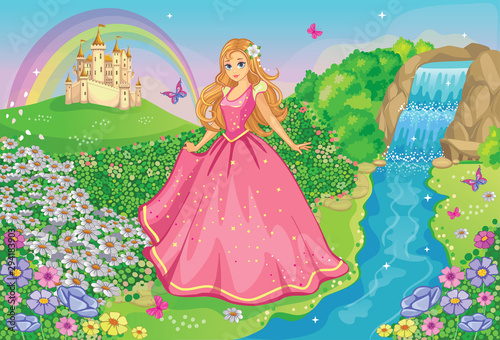 a-beautiful-princess-in-a-pink-dress-fairytale-and-romantic-story-fabulous-background-with-flower-meadow-castle-rainbow-waterfall-and-river-wonderland-cartoon-illustration-for-children-vector