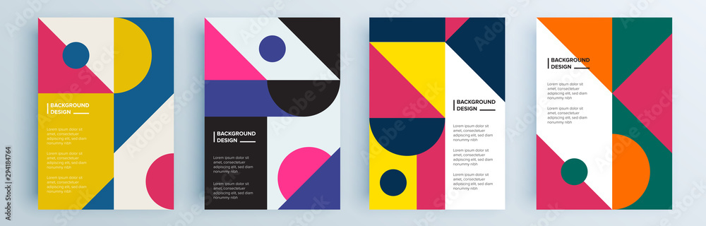 Fototapety, obrazy: Modern abstract covers set, minimal covers design. Colorful geometric background, vector illustration.